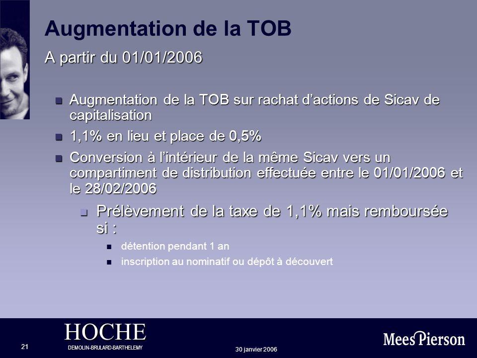 Augmentation de la TOB A partir du 01/01/2006