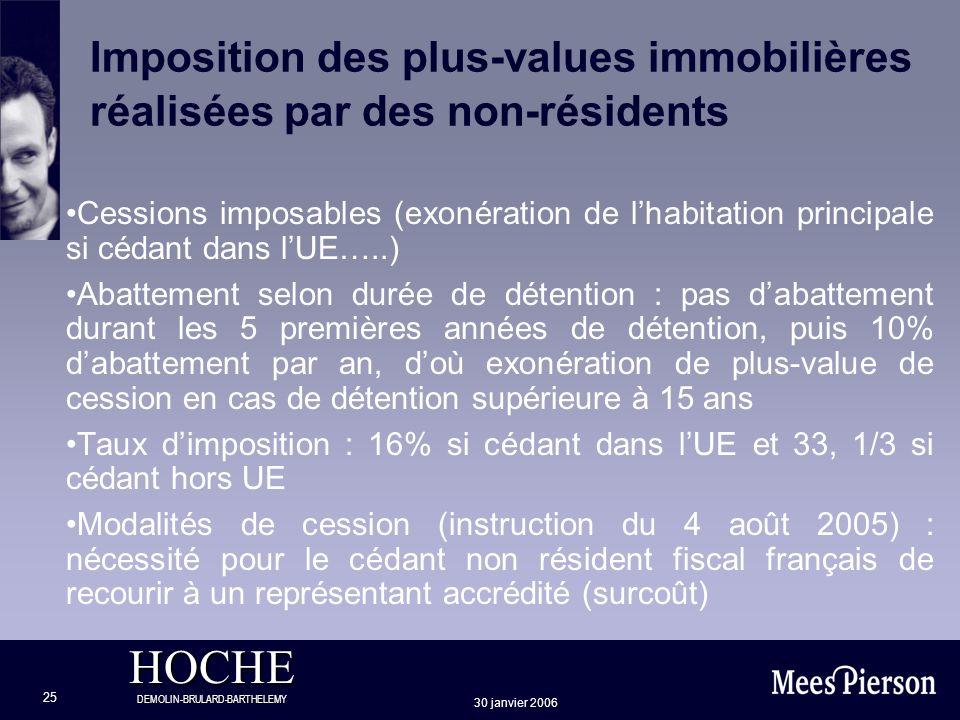 Imposition des plus-values immobilières réalisées par des non-résidents