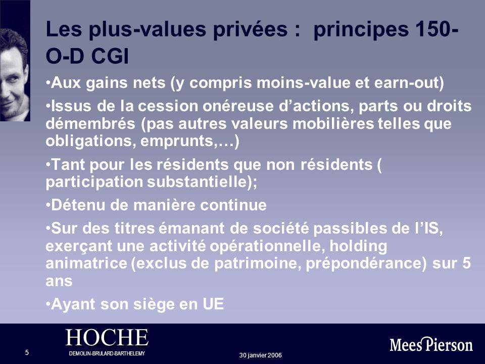 Les plus-values privées : principes 150-O-D CGI