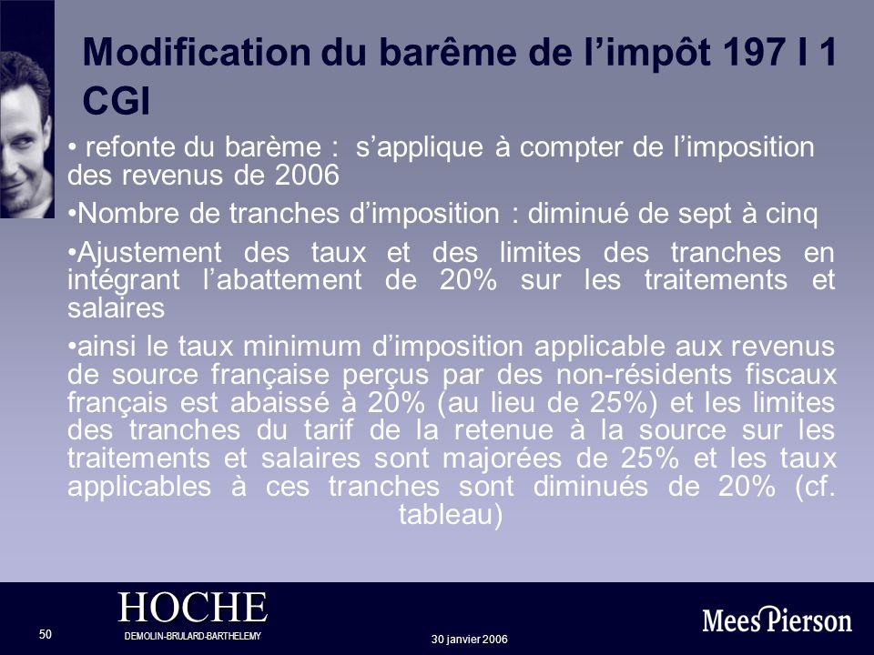 Modification du barême de l'impôt 197 I 1 CGI