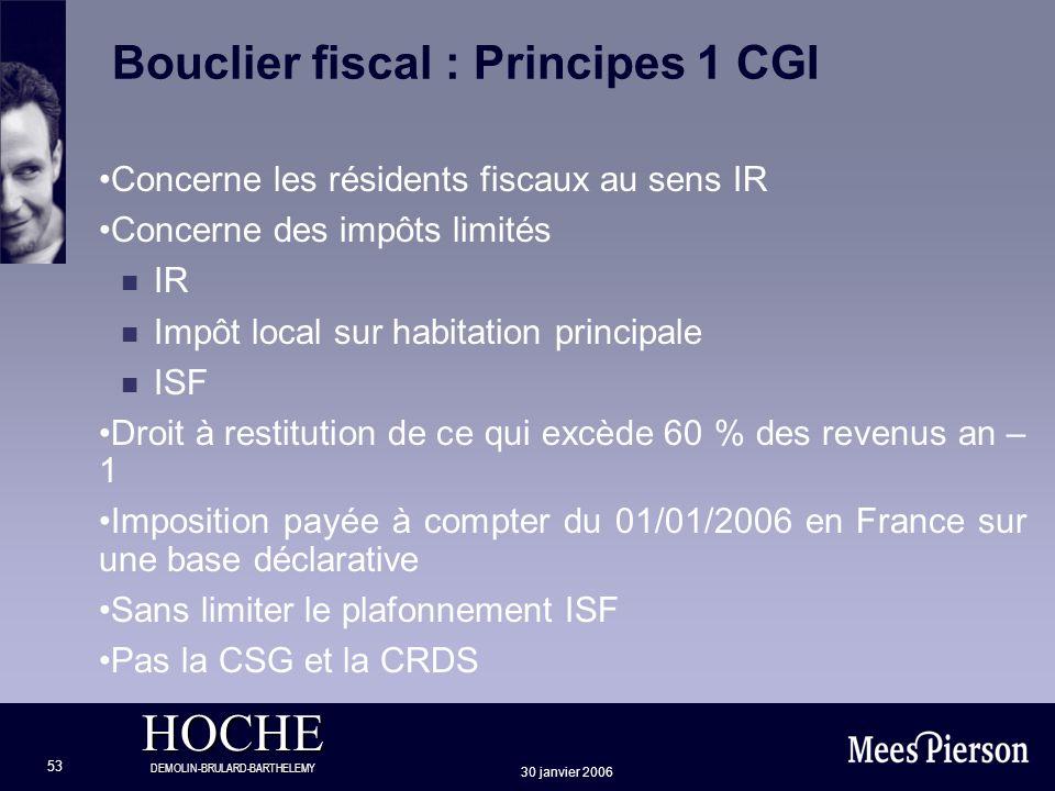 Bouclier fiscal : Principes 1 CGI
