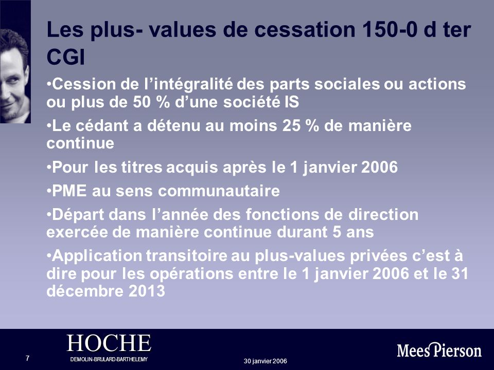 Les plus- values de cessation 150-0 d ter CGI