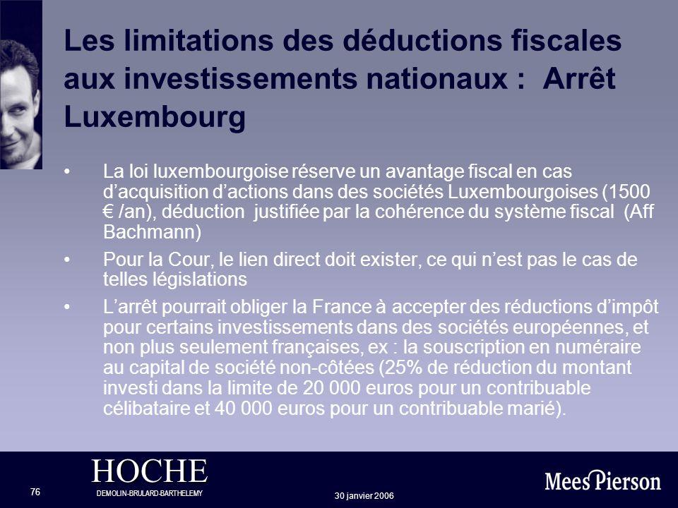 Les limitations des déductions fiscales aux investissements nationaux : Arrêt Luxembourg