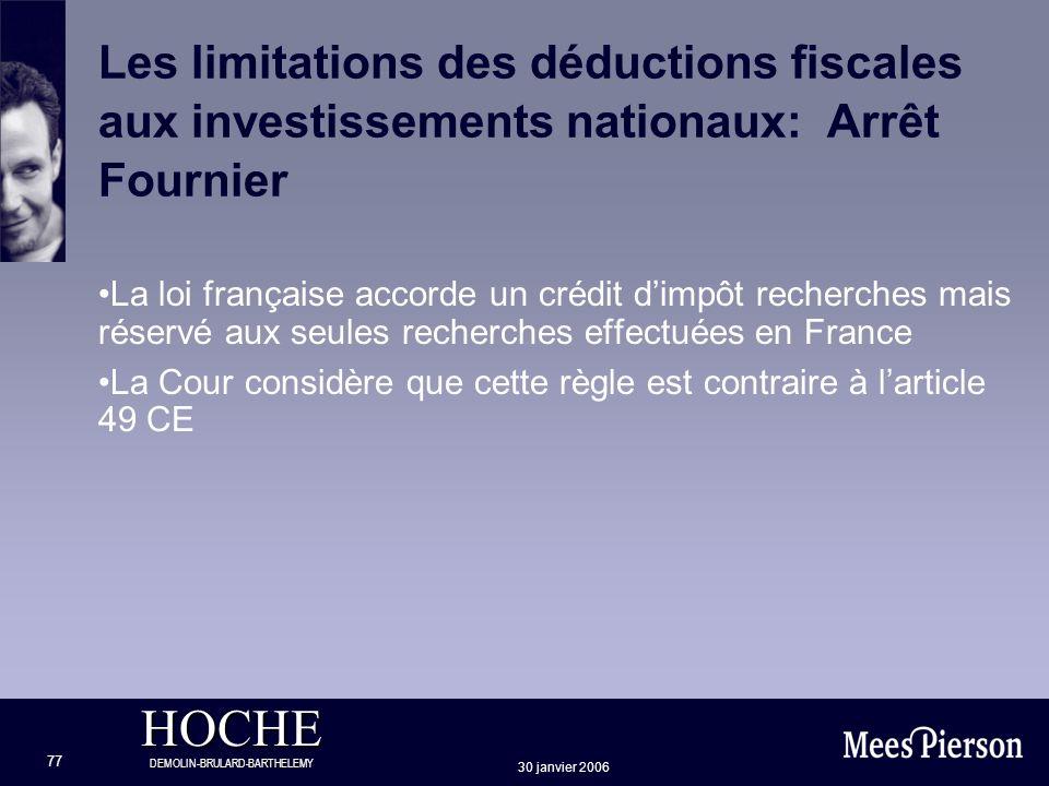 Les limitations des déductions fiscales aux investissements nationaux: Arrêt Fournier