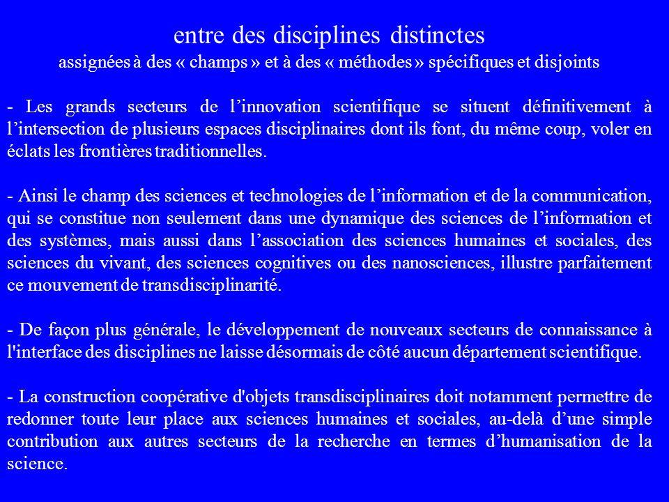 entre des disciplines distinctes