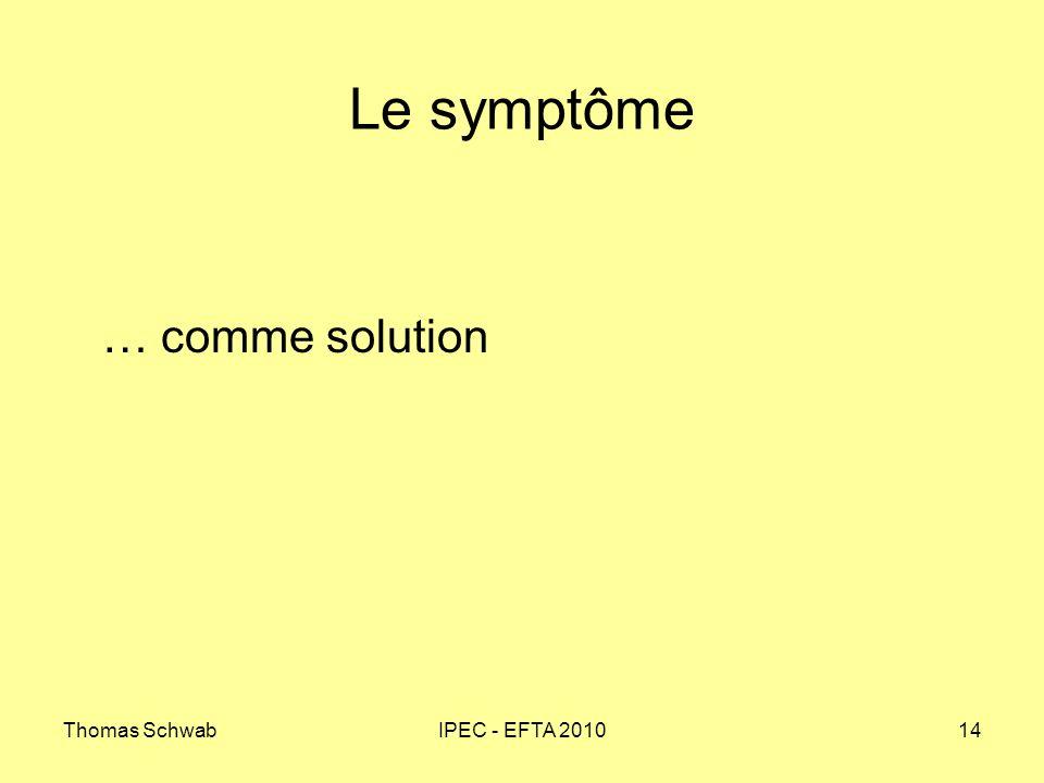 Le symptôme … comme solution Thomas Schwab IPEC - EFTA 2010