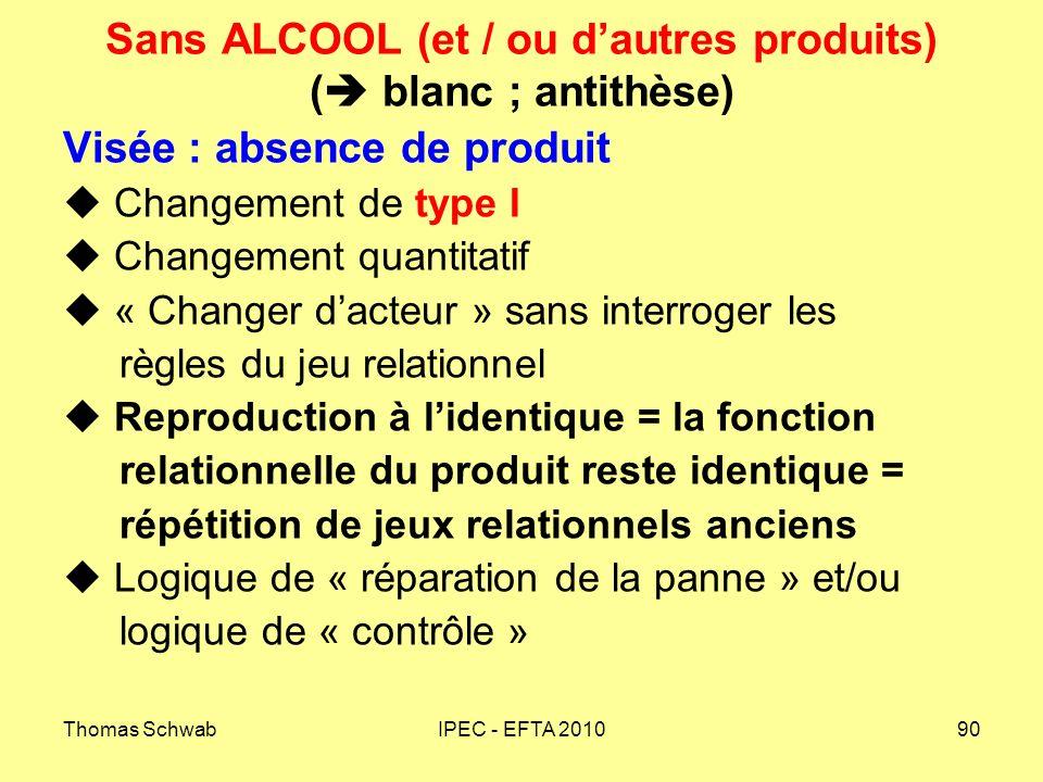 Sans ALCOOL (et / ou d'autres produits) ( blanc ; antithèse)