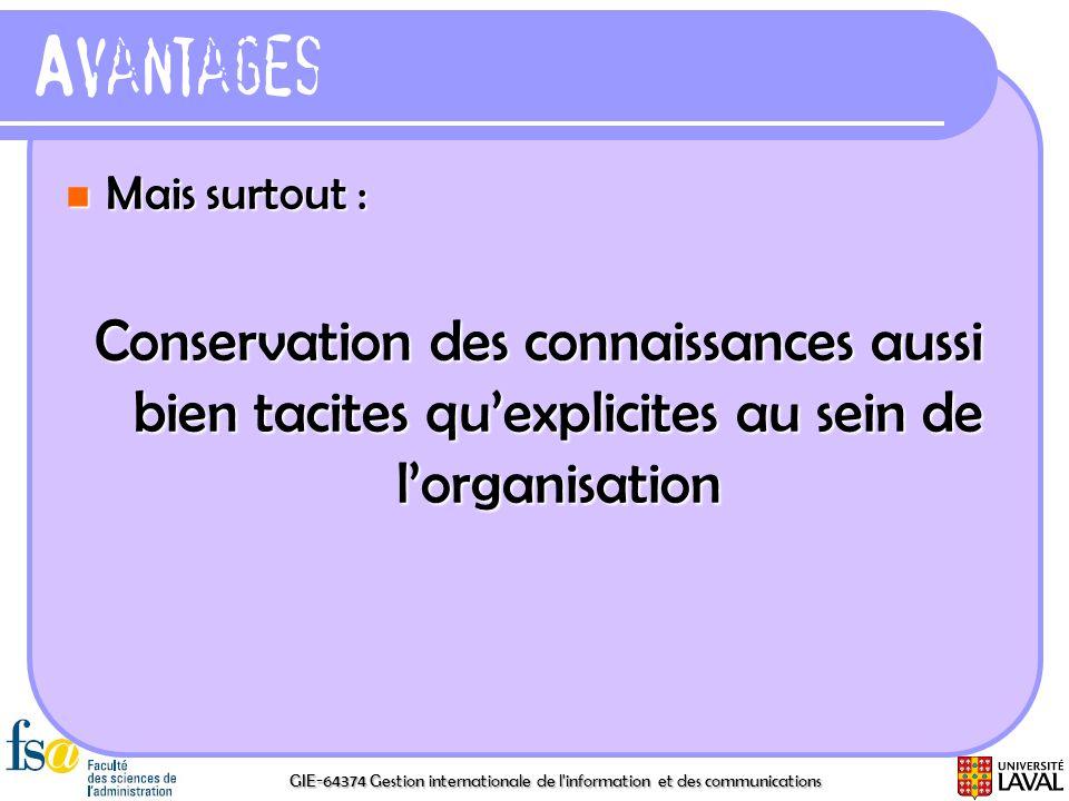 Avantages Mais surtout : Conservation des connaissances aussi bien tacites qu'explicites au sein de l'organisation.