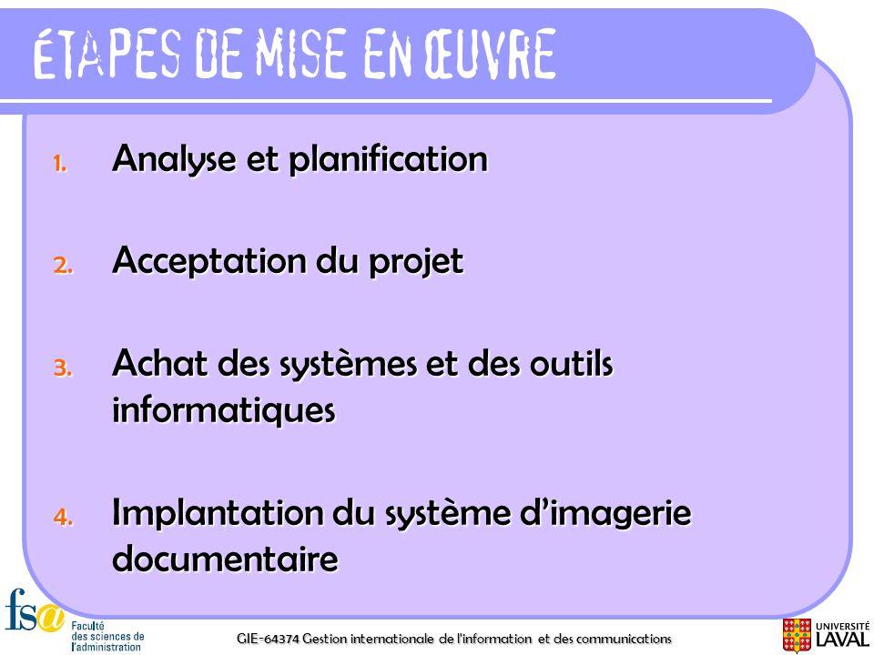 Étapes de mise en œuvre Analyse et planification Acceptation du projet