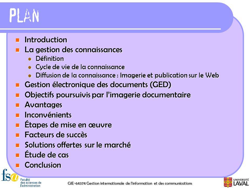 Plan Introduction La gestion des connaissances