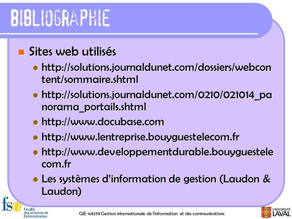 Bibliographie Sites web utilisés