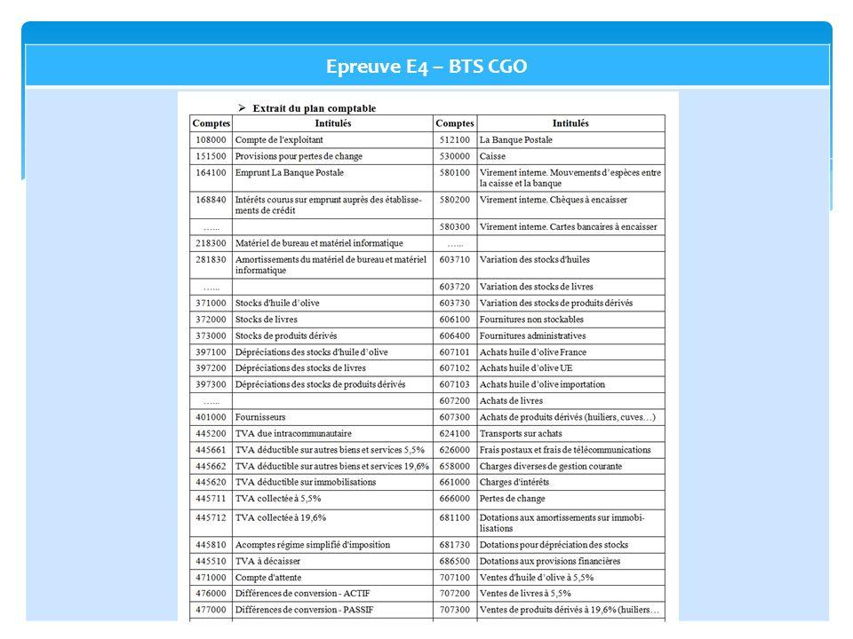 Epreuve E4 – BTS CGO