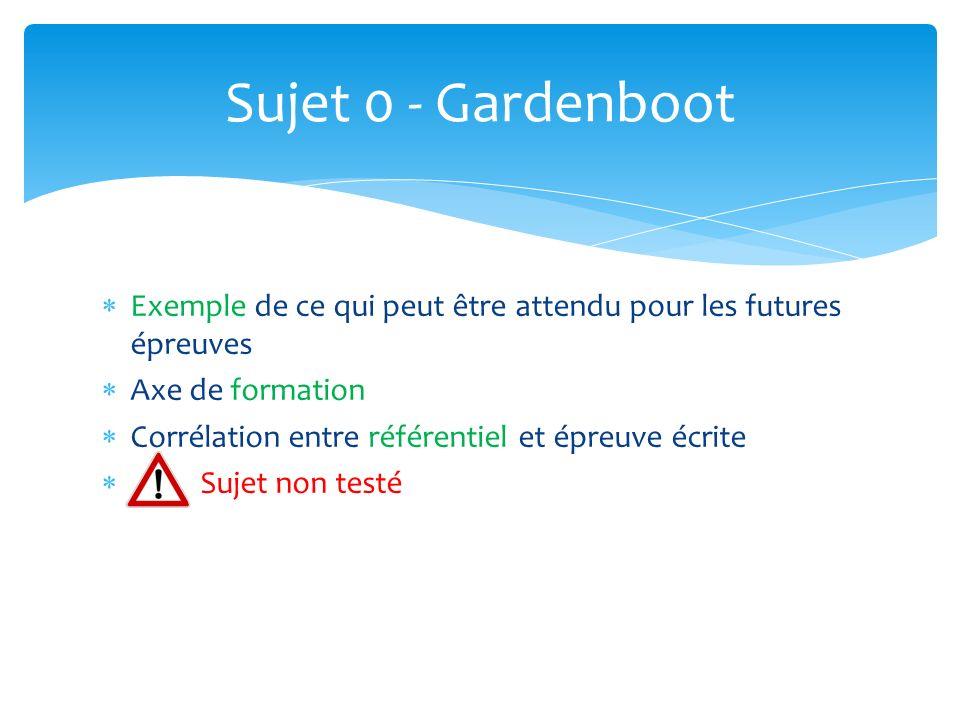 Sujet 0 - Gardenboot Exemple de ce qui peut être attendu pour les futures épreuves. Axe de formation.