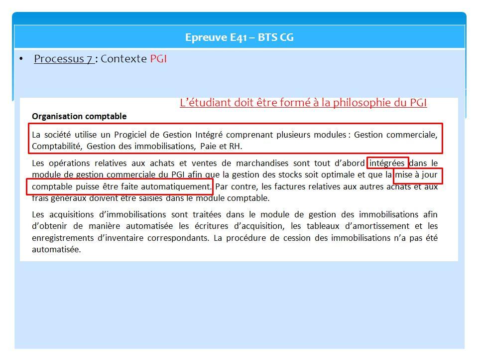 Epreuve E41 – BTS CG Processus 7 : Contexte PGI L'étudiant doit être formé à la philosophie du PGI