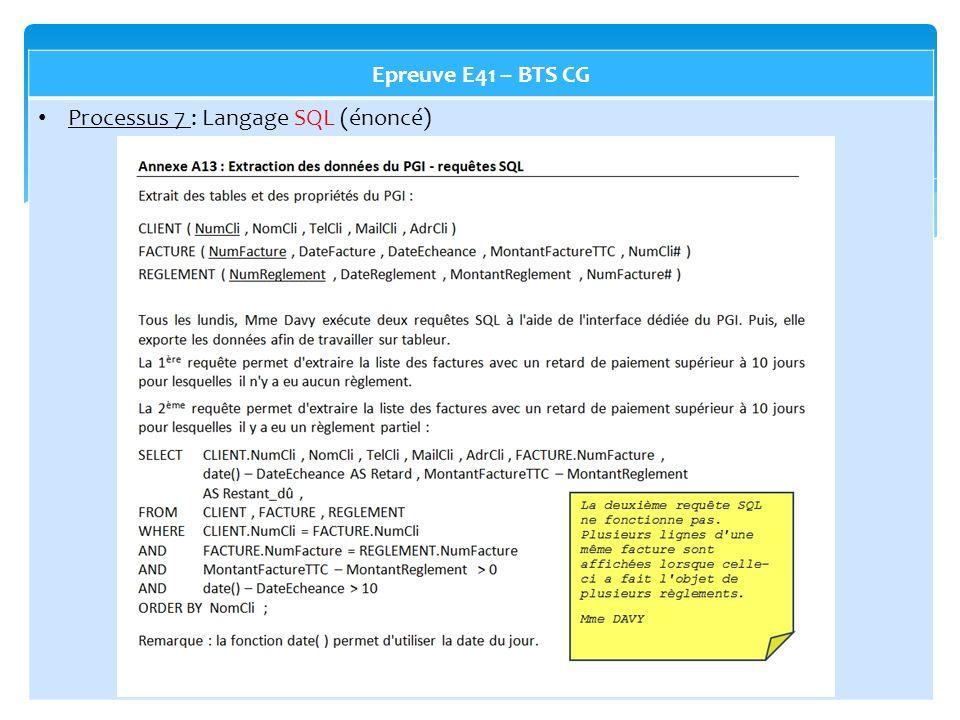Epreuve E41 – BTS CG Processus 7 : Langage SQL (énoncé)