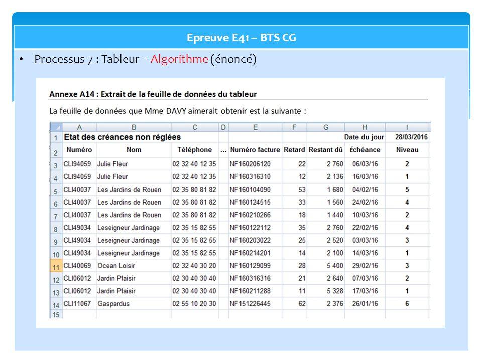 Epreuve E41 – BTS CG Processus 7 : Tableur – Algorithme (énoncé)