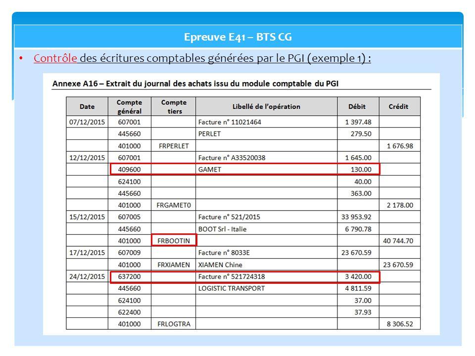 Epreuve E41 – BTS CG Contrôle des écritures comptables générées par le PGI (exemple 1) :