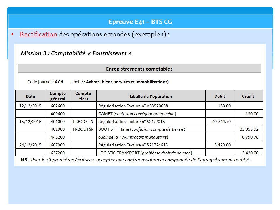 Epreuve E41 – BTS CG Rectification des opérations erronées (exemple 1) :