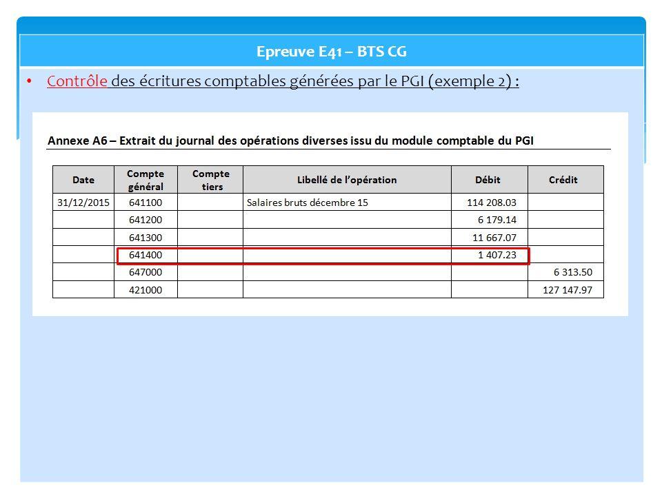 Epreuve E41 – BTS CG Contrôle des écritures comptables générées par le PGI (exemple 2) :