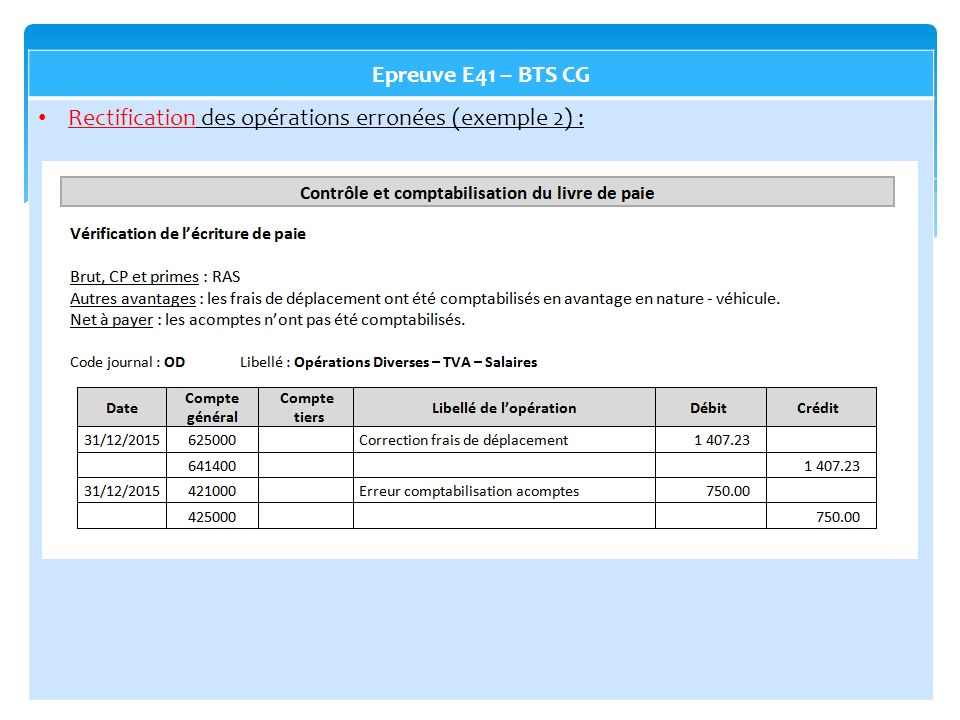 Epreuve E41 – BTS CG Rectification des opérations erronées (exemple 2) :