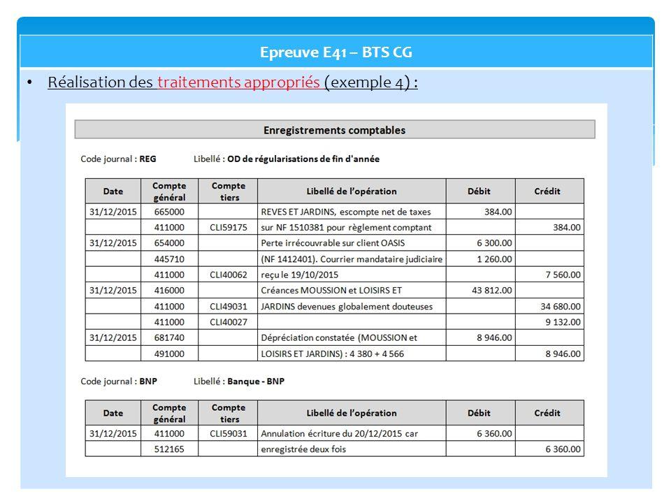 Epreuve E41 – BTS CG Réalisation des traitements appropriés (exemple 4) :
