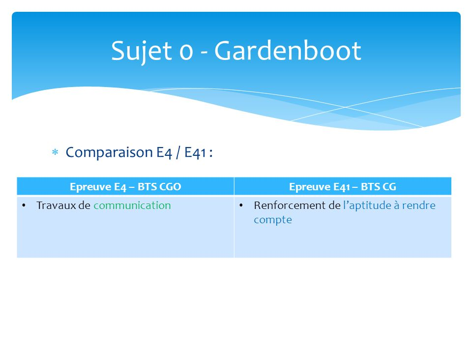 Sujet 0 - Gardenboot Comparaison E4 / E41 : Epreuve E4 – BTS CGO