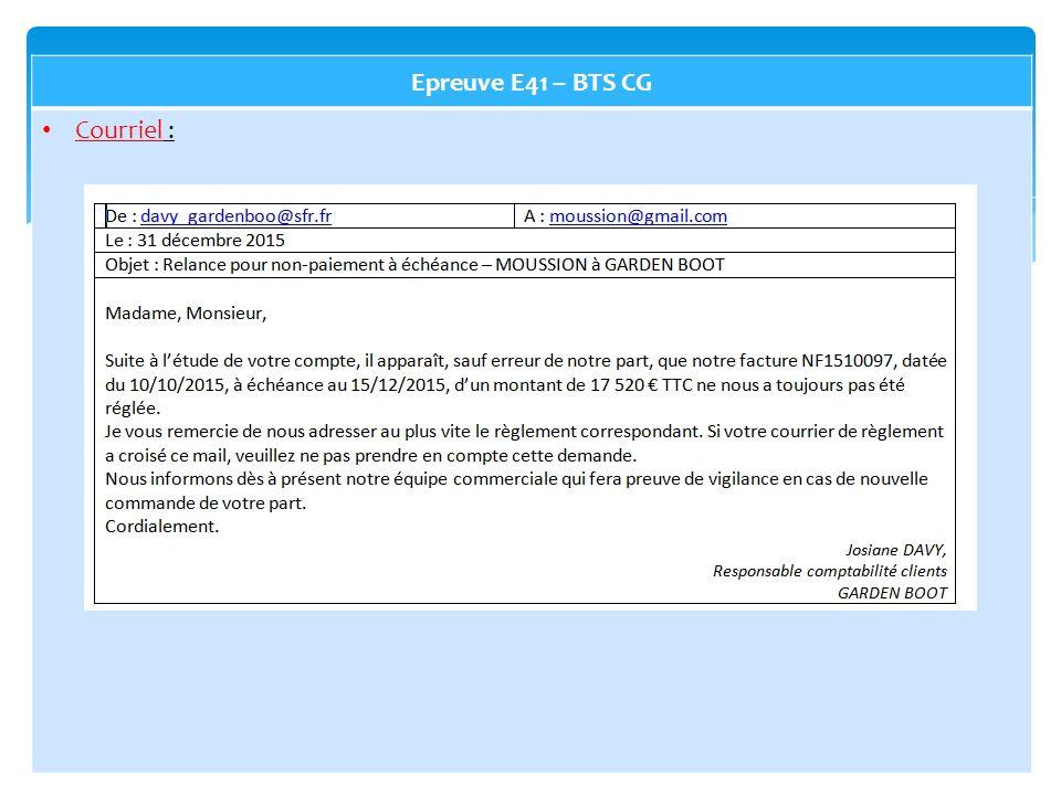 Epreuve E41 – BTS CG Courriel :