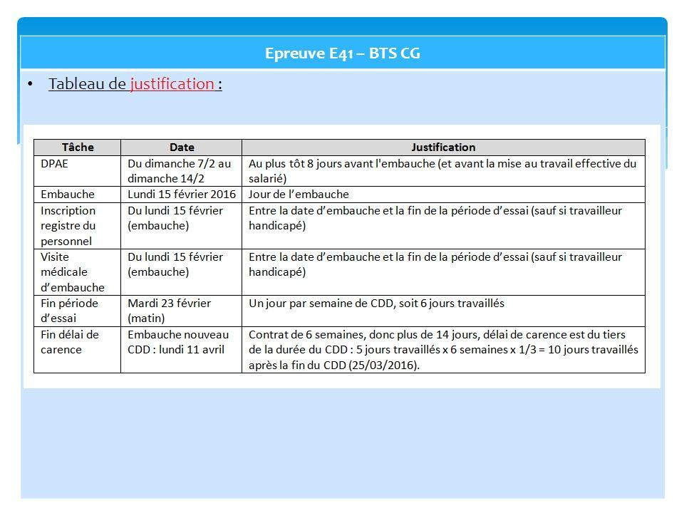 Epreuve E41 – BTS CG Tableau de justification :