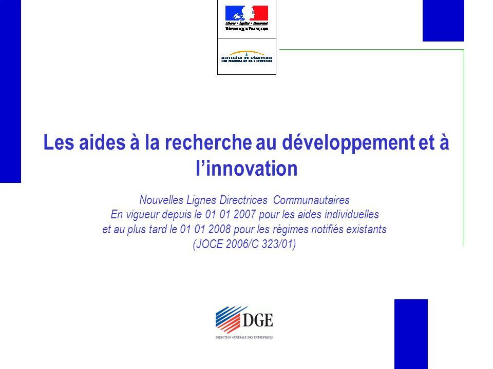Les aides à la recherche au développement et à l'innovation