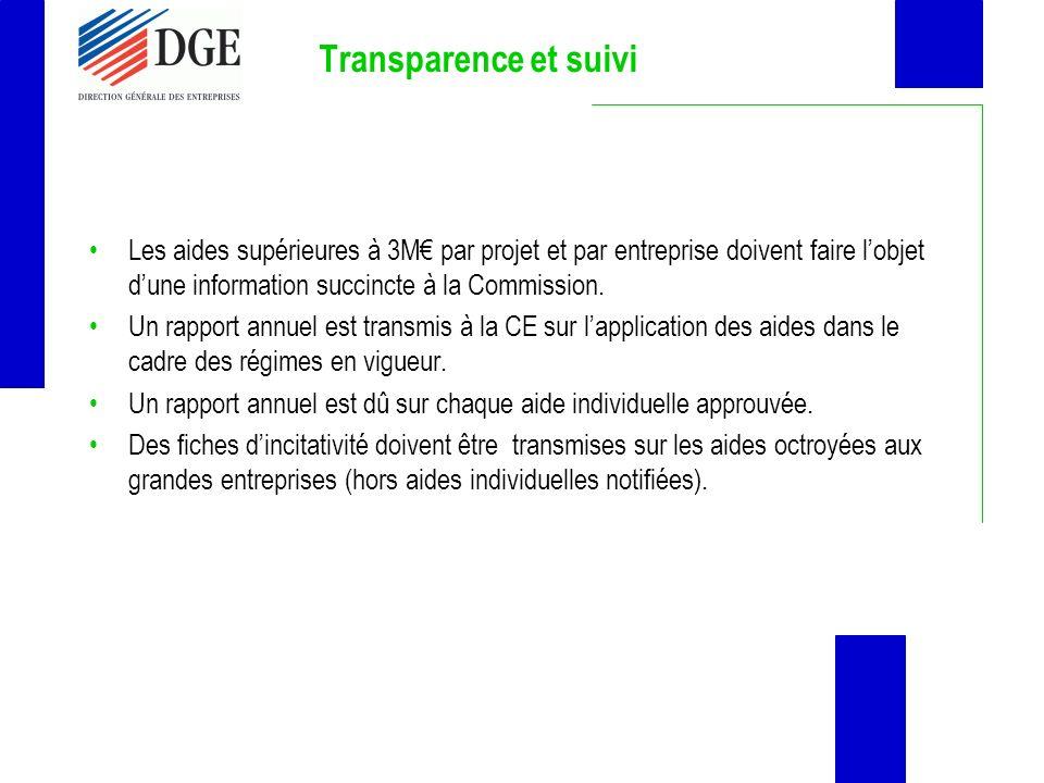 Transparence et suivi Les aides supérieures à 3M€ par projet et par entreprise doivent faire l'objet d'une information succincte à la Commission.