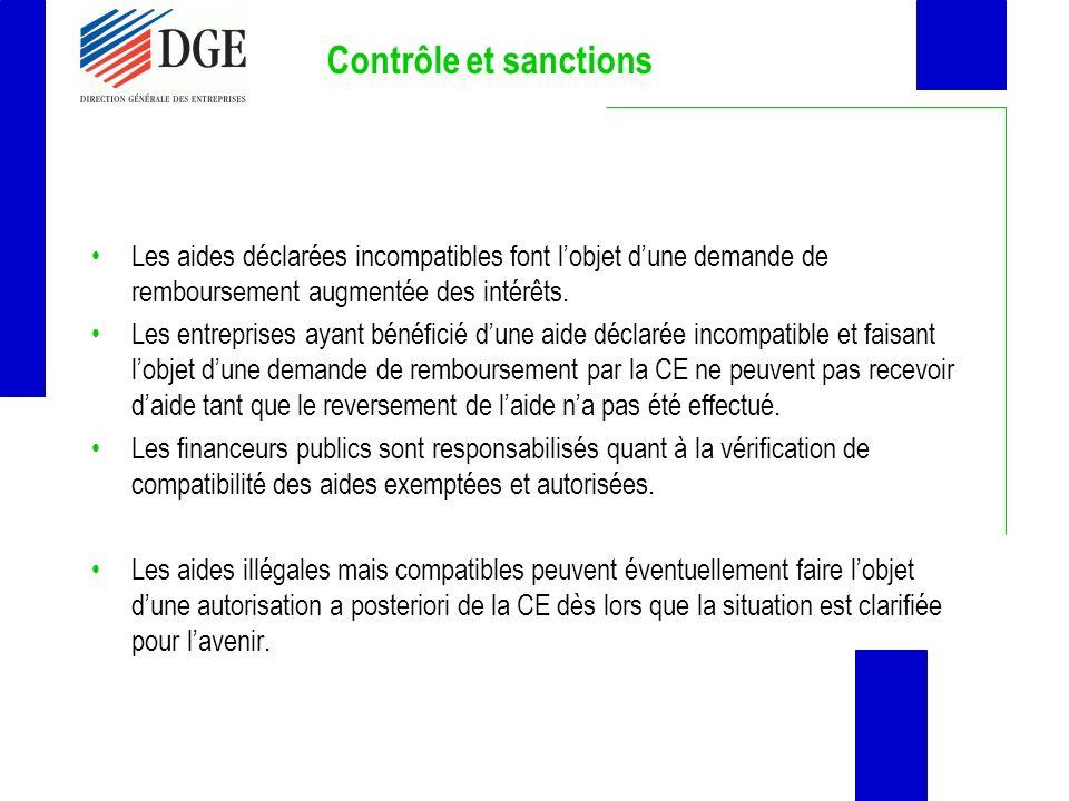 Contrôle et sanctions Les aides déclarées incompatibles font l'objet d'une demande de remboursement augmentée des intérêts.