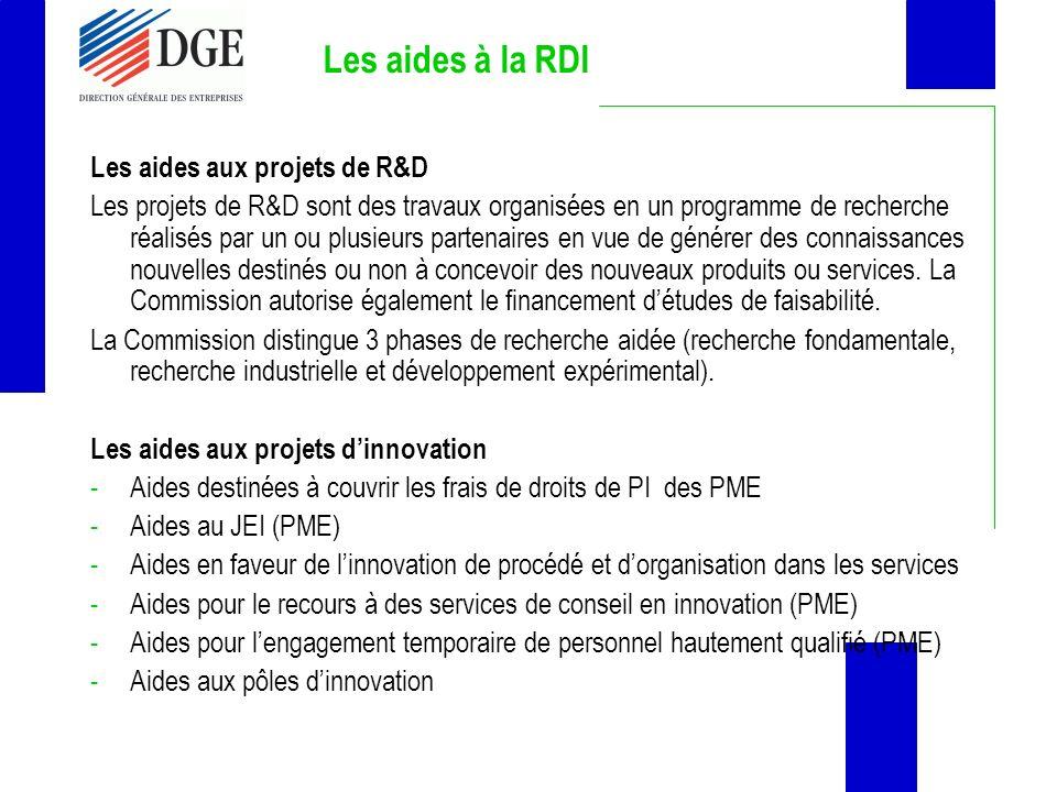 Les aides à la RDI Les aides aux projets de R&D