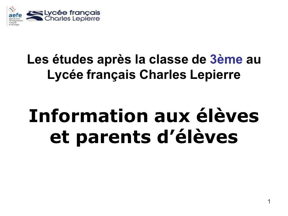Information aux élèves et parents d'élèves