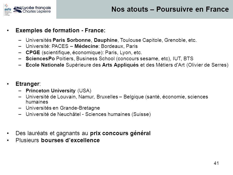Nos atouts – Poursuivre en France