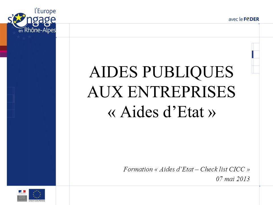 AIDES PUBLIQUES AUX ENTREPRISES « Aides d'Etat »