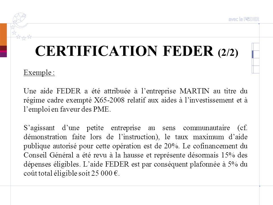 CERTIFICATION FEDER (2/2)