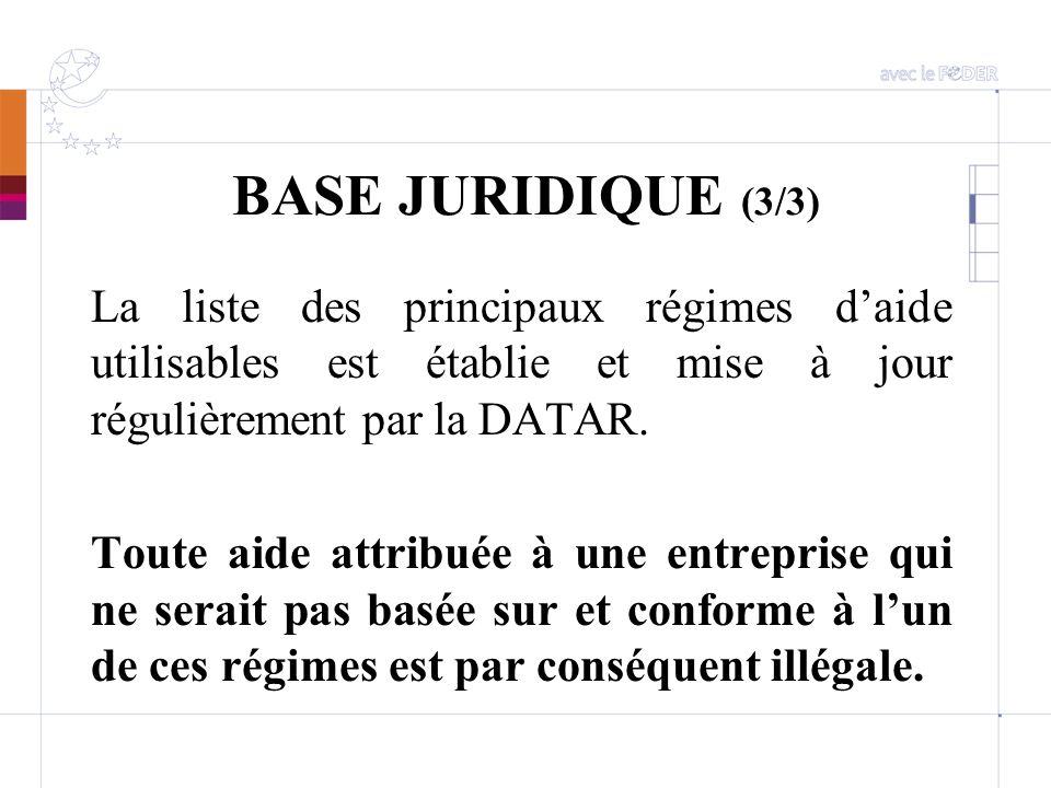BASE JURIDIQUE (3/3) La liste des principaux régimes d'aide utilisables est établie et mise à jour régulièrement par la DATAR.