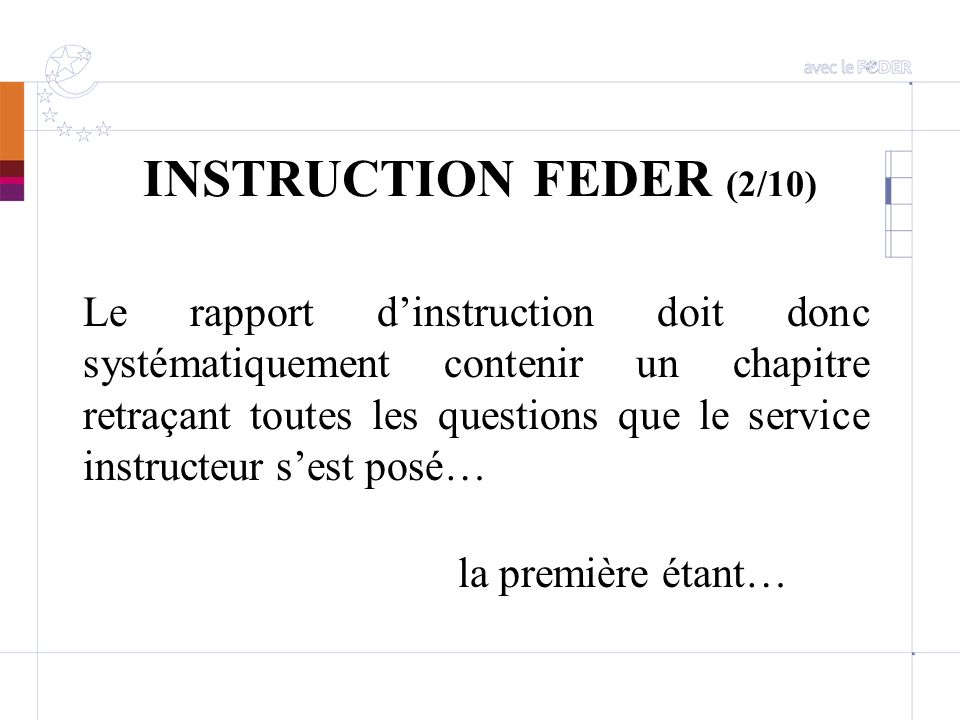 INSTRUCTION FEDER (2/10)