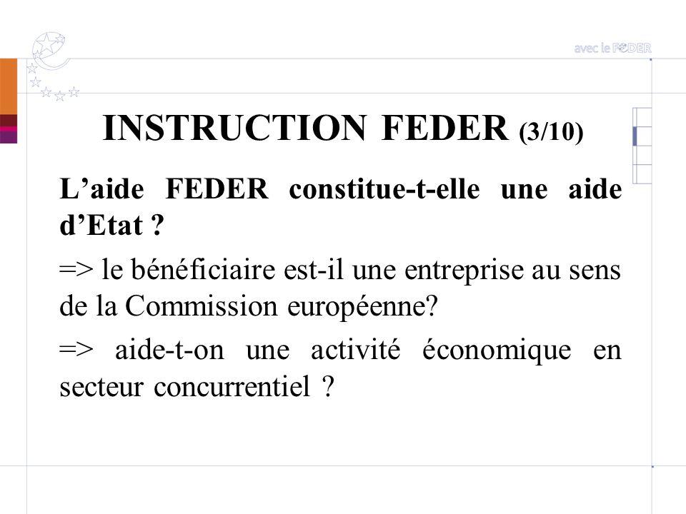 INSTRUCTION FEDER (3/10) L'aide FEDER constitue-t-elle une aide d'Etat