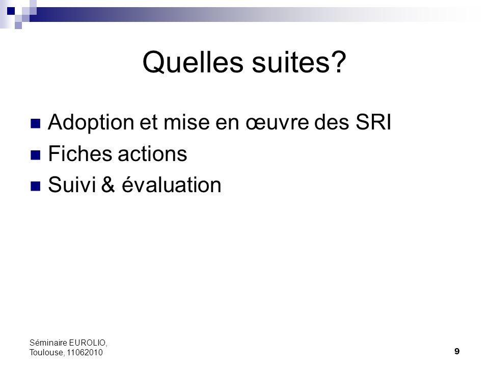 Quelles suites Adoption et mise en œuvre des SRI Fiches actions