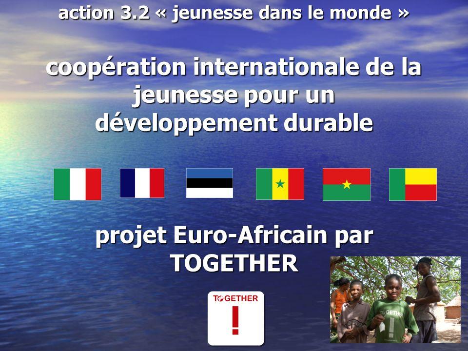 action 3.2 « jeunesse dans le monde » coopération internationale de la jeunesse pour un développement durable projet Euro-Africain par TOGETHER