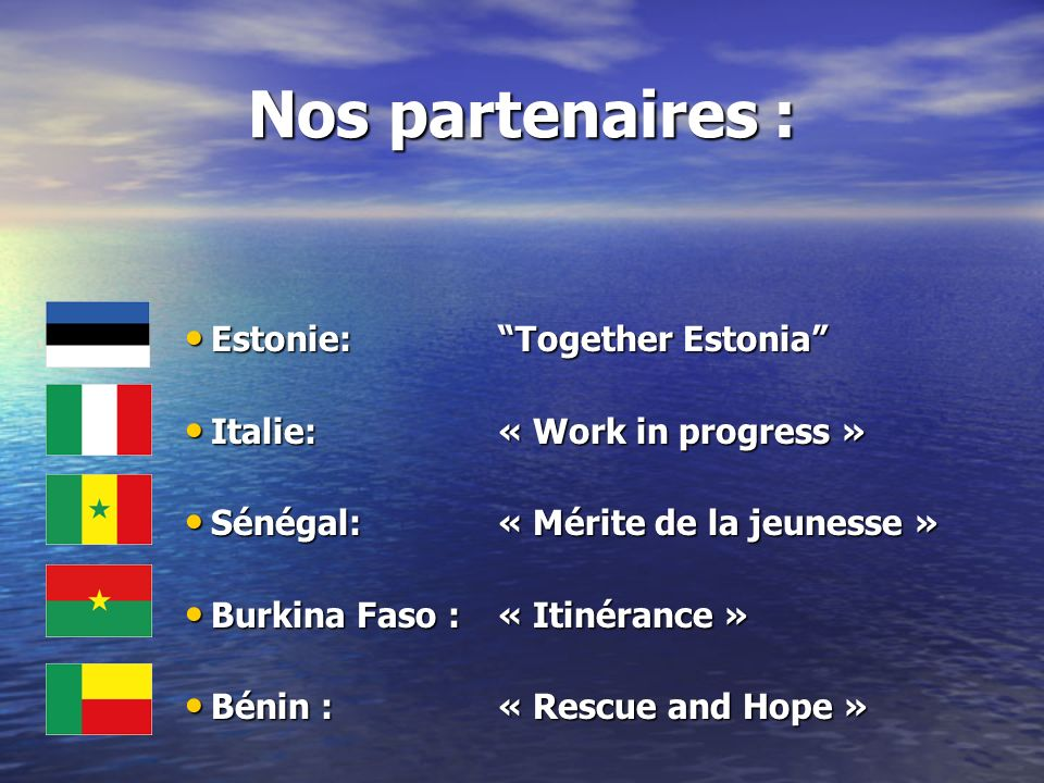 Nos partenaires : Estonie: Together Estonia
