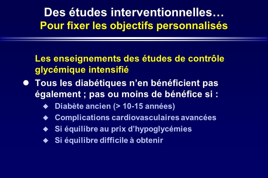 Des études interventionnelles… Pour fixer les objectifs personnalisés