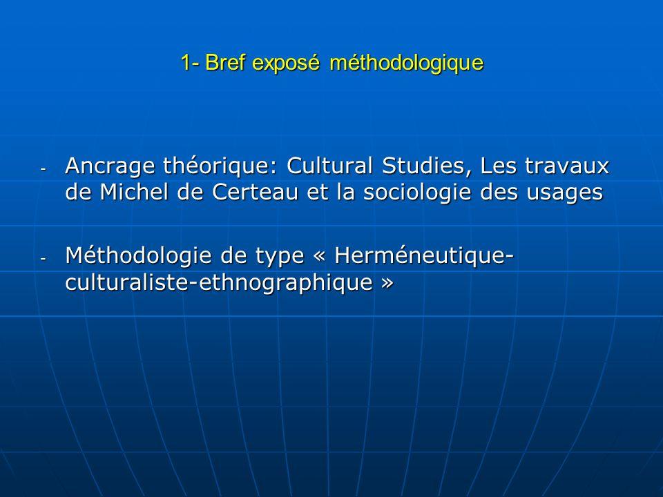 1- Bref exposé méthodologique