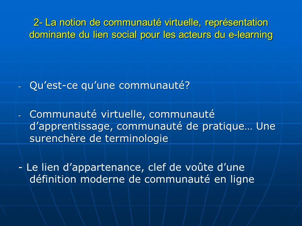 2- La notion de communauté virtuelle, représentation dominante du lien social pour les acteurs du e-learning