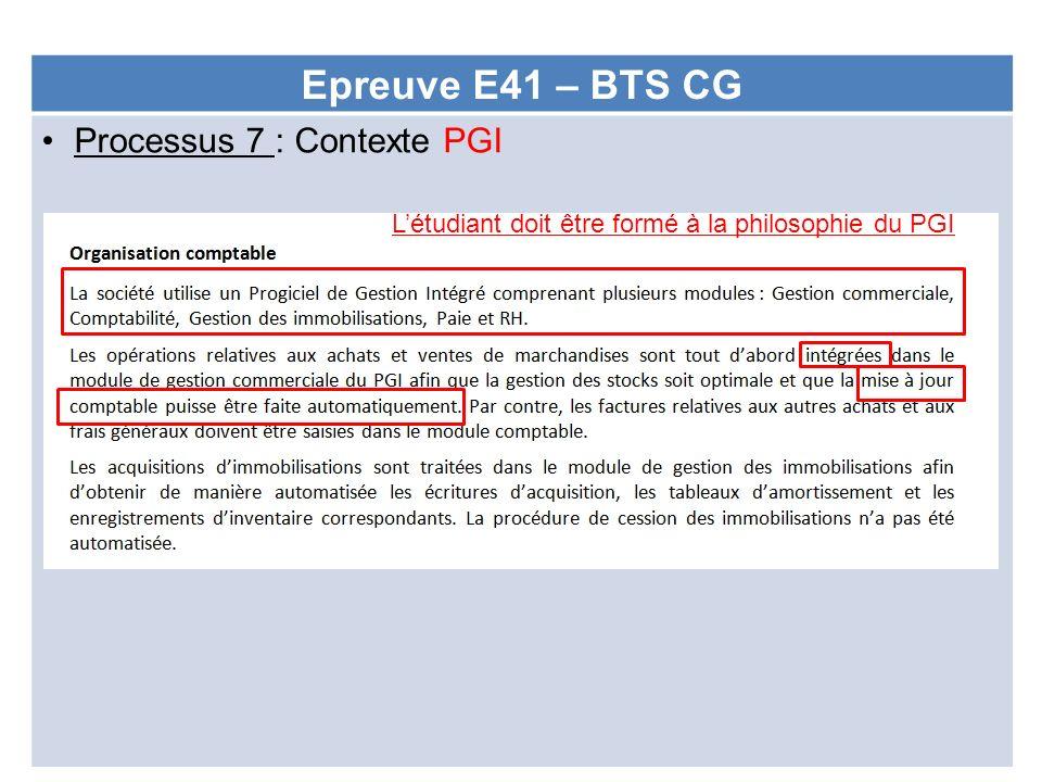 Epreuve E41 – BTS CG Processus 7 : Contexte PGI
