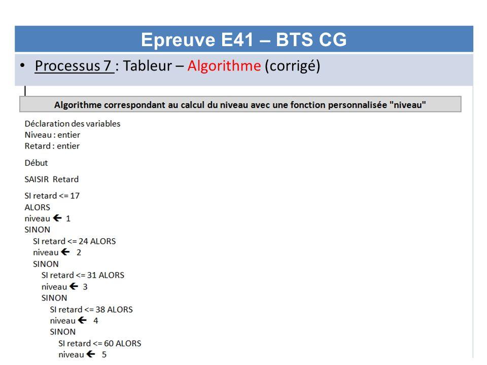 Epreuve E41 – BTS CG Processus 7 : Tableur – Algorithme (corrigé)