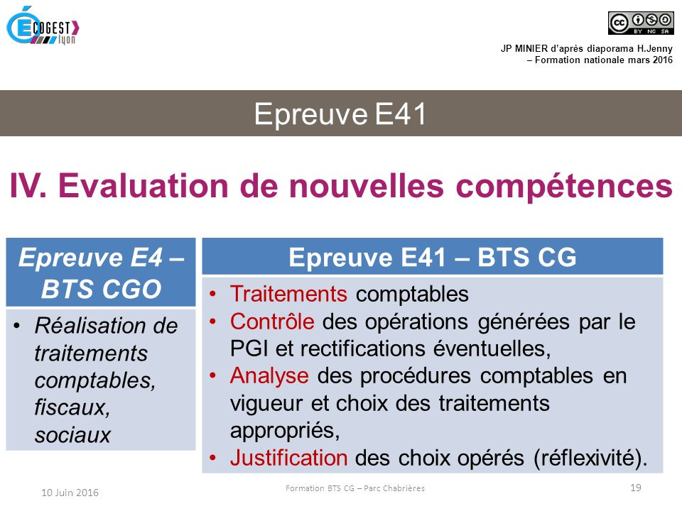 IV. Evaluation de nouvelles compétences