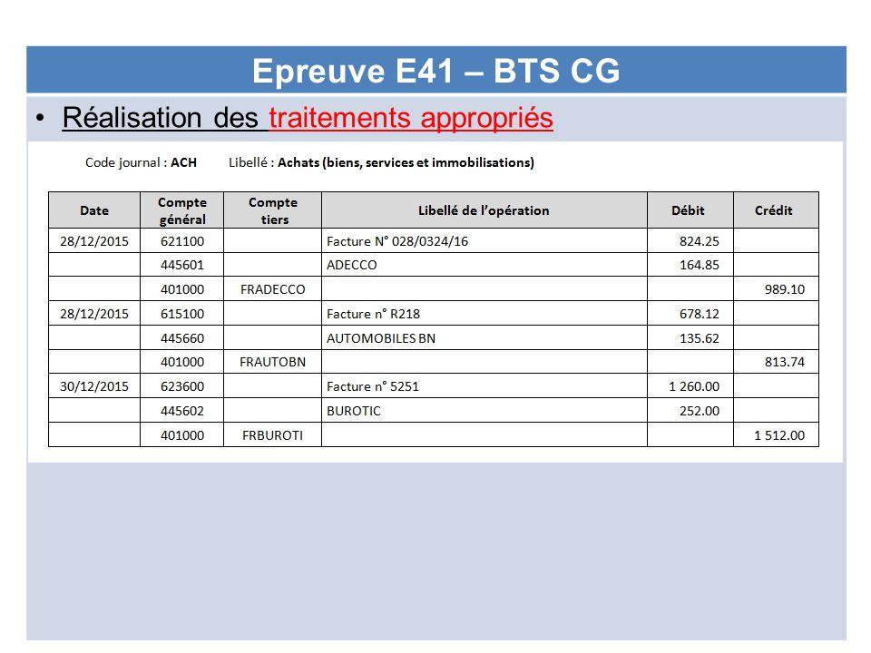 Epreuve E41 – BTS CG Réalisation des traitements appropriés