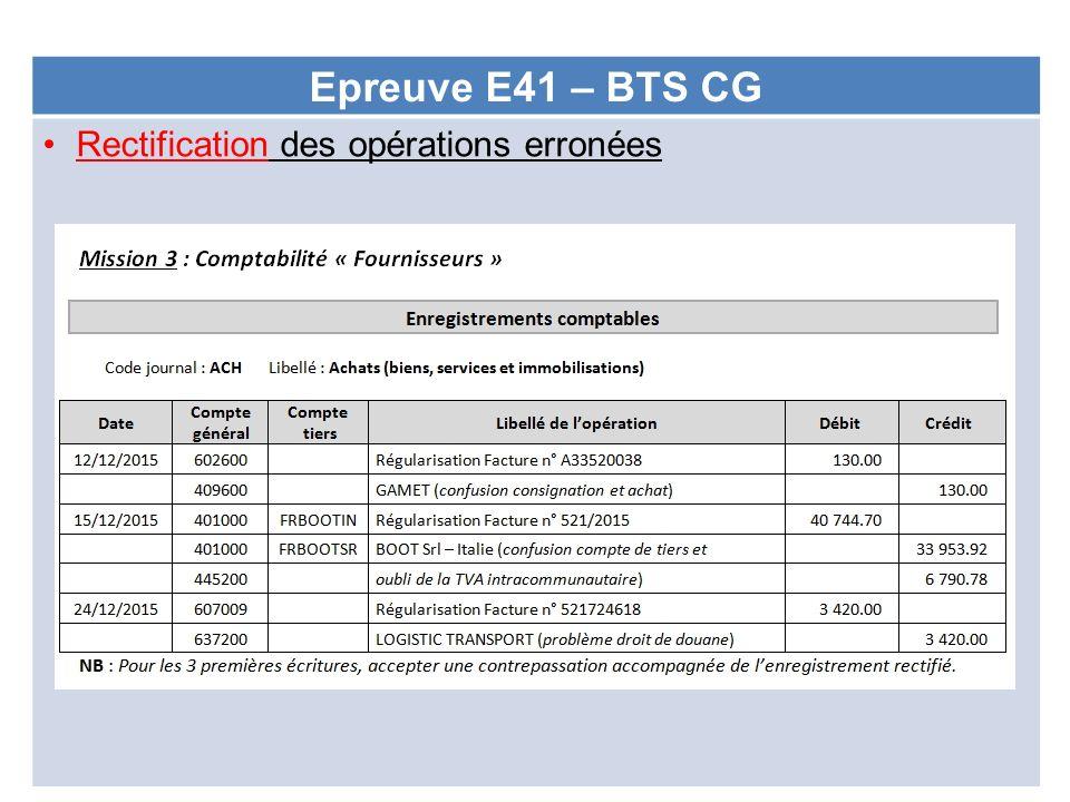 Epreuve E41 – BTS CG Rectification des opérations erronées